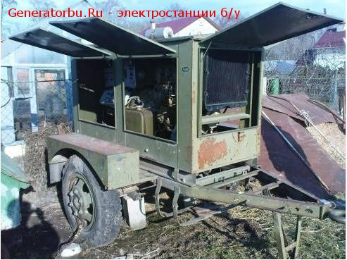 Бу дизель генератор ЭСД-10 (10 квт, 230В) капот на шасси, двигатель 4Ч